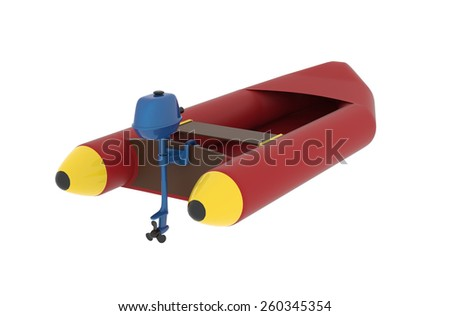 motorboat,  3d, isolated - stock photo