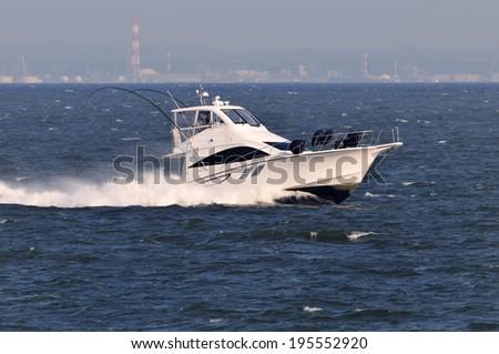 Motorboat of Tokyo Bay  - stock photo