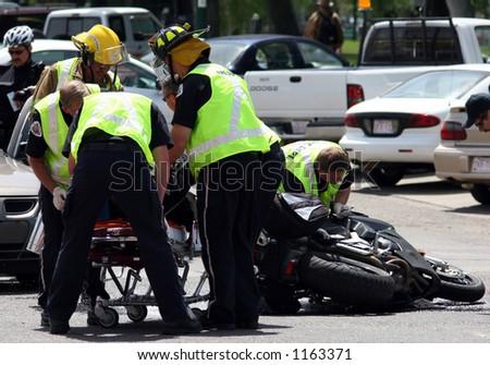 motorcycle accident scene - stock photo