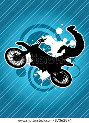 Motorcycle and the biker silhouette on the grunge red background - stock photo