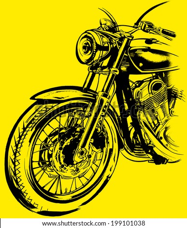 Motorcycle, bike, a hand-painted in the style of grunge. Graphic drawing, sketch on a gray background