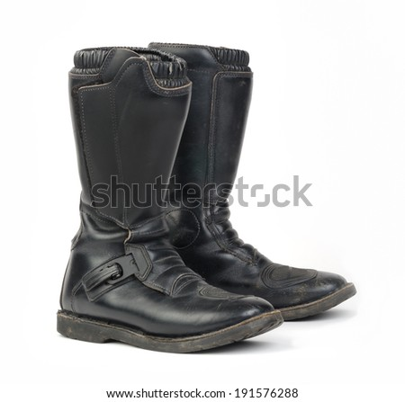Motorcycle Boots. - stock photo