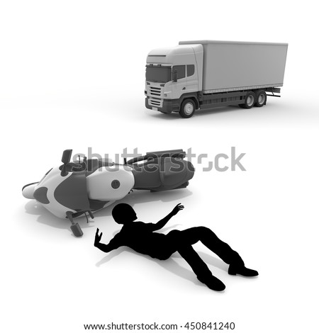Motorcycle / car accident / fall / 3D rendering