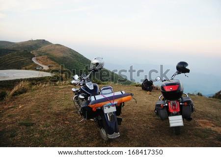 Motorcycle Chopper at mountain in Kanchanaburi Thailand - stock photo