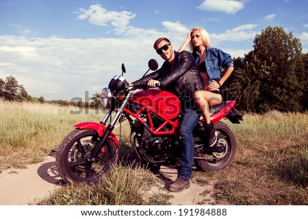 Motorcycle Couple - stock photo