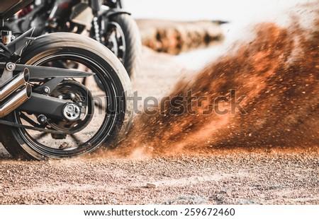 motorcycle dirt , close up wheel - stock photo