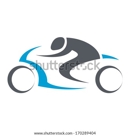 motorcycle driver isolated illustration - stock photo