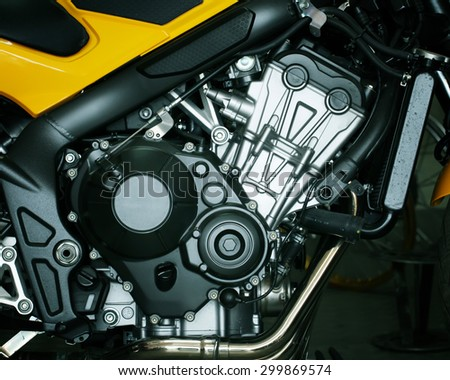 Motorcycle engine,detail of motorcycle engine. - stock photo