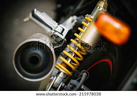motorcycle exhaust pipe, close-up detail  - stock photo