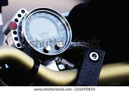 Motorcycle handlebar - stock photo