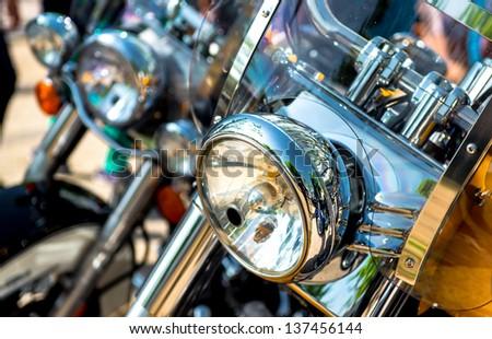 Motorcycle headlight  - stock photo
