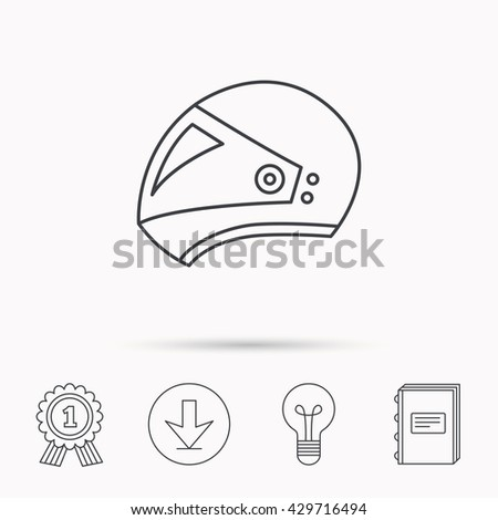 Motorcycle helmet icon. Biking sport sign. Download arrow, lamp, learn book and award medal icons. - stock photo