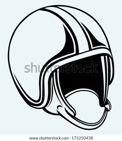 Motorcycle helmet. Image isolated on blue background. Raster version - stock photo