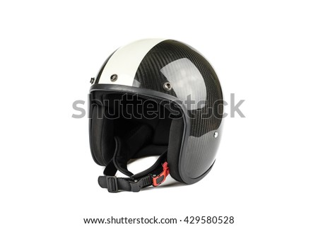 Motorcycle Helmet Kevlar black and white on isolated on white background.