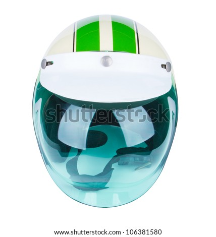 motorcycle helmet over white background - stock photo