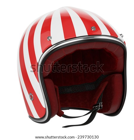 Motorcycle helmet red white striped. Helmet classic style. - stock photo
