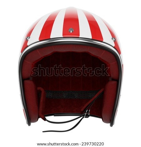 Motorcycle helmet red white striped. Helmet classic style. Helmet front view. - stock photo