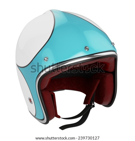 Motorcycle helmet turquoise white. Motorcycle helmet old fashioned.