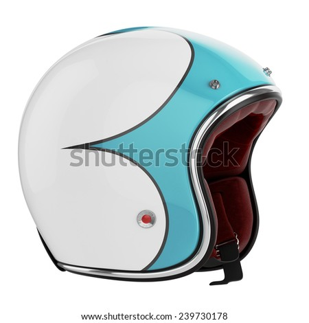 Motorcycle helmet turquoise white. Motorcycle helmet old fashioned. Helmet on a white background. - stock photo