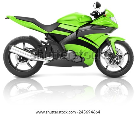 Motorcycle Motorbike Bike Riding Rider Contemporary Green Concept - stock photo