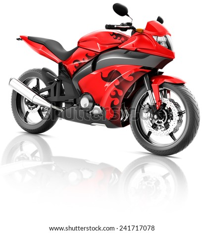 Motorcycle Motorbike Bike Riding Rider Contemporary Red Concept - stock photo