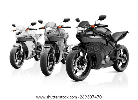 Motorcycle Motorbike Bike Riding Rider Contemporary Shiny Concept - stock photo