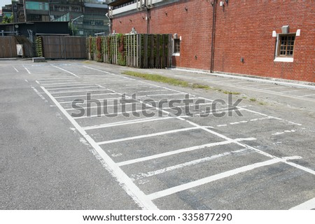 Motorcycle parking line.in the park - stock photo