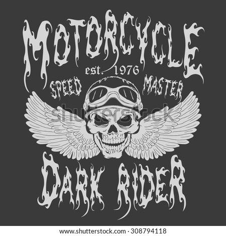 Motorcycle Racing emblem. Skull with wings and rider helmet