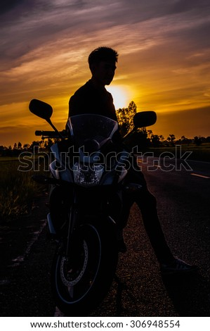 Motorcycle ride, people driving motorbikes, bikers  summer  movi - stock photo