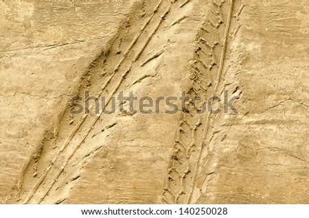 Motorcycle tire tracks on soil floor - stock photo