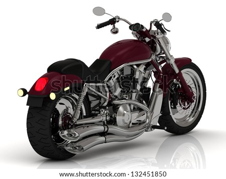 Motorcycle with a chrome engine and exhaust - stock photo