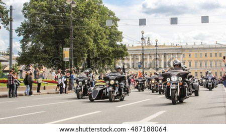 Motorcycle with sidecar. St. Petersburg, Russia - 13 August, 2016. The annual parade of Harley Davidson in the squares and streets of St. Petersburg.