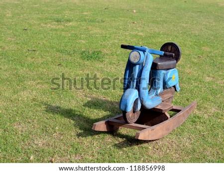 Motorcycle wood toy - stock photo