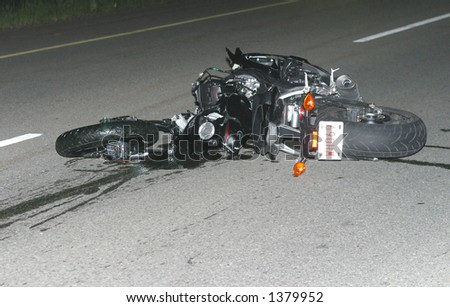 motorcycle wreck - stock photo