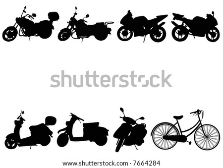 motorcycles mopeds and bicycle - stock photo