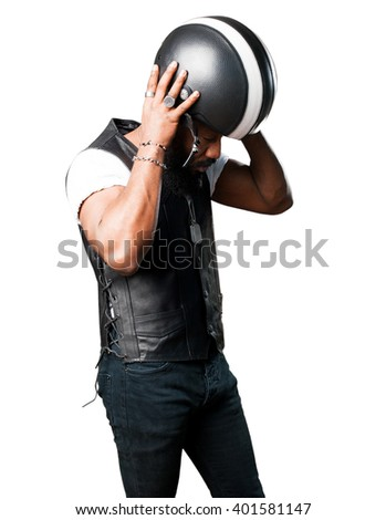 motorcyclist man wearing an helmet