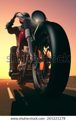 Motorcyclist on the highway. - stock photo