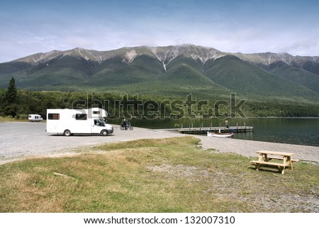 Motorhome in Nelson Lakes National Park, New Zealand. Recreational vehicle. - stock photo