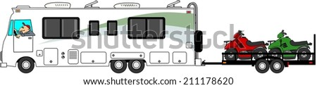Motorhome towing ATV's - stock photo