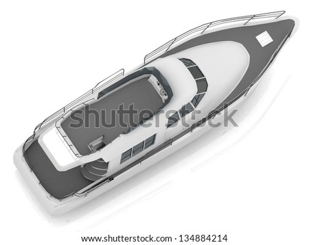 Motorized pleasure boat located diagonally from the top view - stock photo