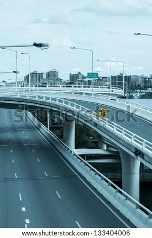 motorway in city - stock photo