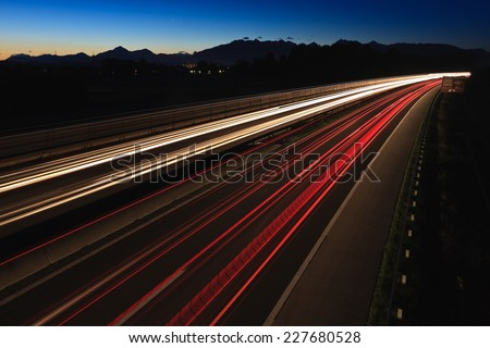 Motorway Ljubljana-Maribor with the Alps in the background viewed from the road bridge, Slovenia - stock photo