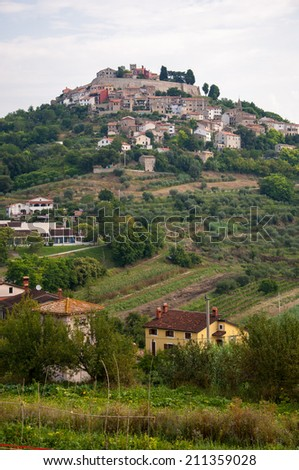 Motovun, Croatia - July 26, 2014 - City Motovun on top of the hill on Istria peninsula in Croatia, home to Motovun Film Festival.