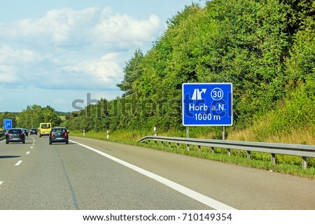 motoway road signs on (Autobahn 81 / A 81 / E 531) direction Stuttgart - exit to city Horb am Neckar