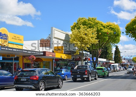 Motueka, New Zealand - December 30, 2015: The colorful Town of Motueka in Tasman Bay, New Zealand is bustling with shoppers; tourists  and holiday makers in mid summer.