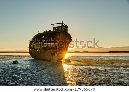 Motueka Shipwreck - stock photo
