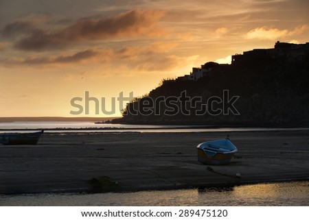 moulay bousselham lagoon on the morocco altantic coast - stock photo