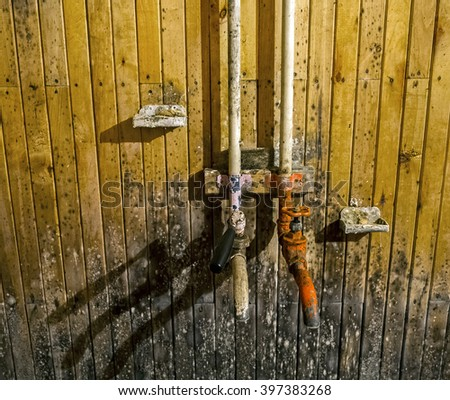 Mould stains on wooden wall - stock photo