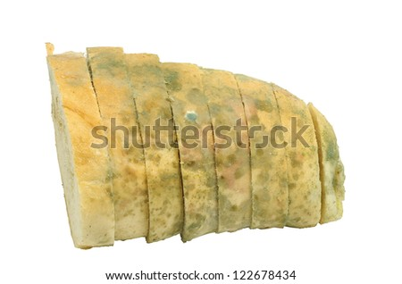 Mouldy bread sliced isolated on a white background stock photo