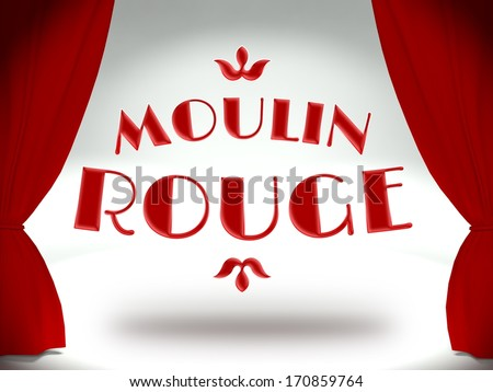 Moulin rouge on theater stage with red curtains, concept of the show - stock photo